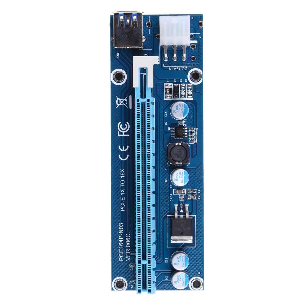 40 см MINI PCI-E USB 3,0 PCI-E Express 1x to16x удлинитель Riser Card Adapter SATA 6Pin кабель питания для майнинга биткоина