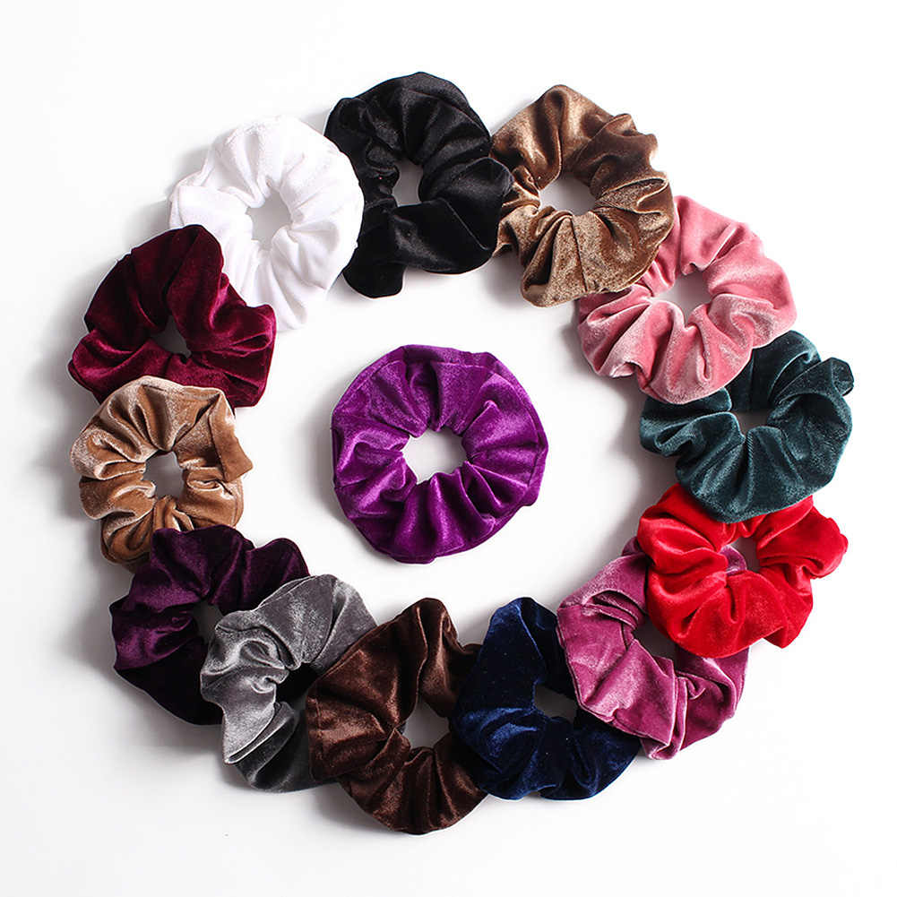 Soft Velvet Scrunchies Solid Color Hair Rope Ties Ponytail Holder  Women Width Elastic Hair Bands Vintage Headwear Hot Pink Red