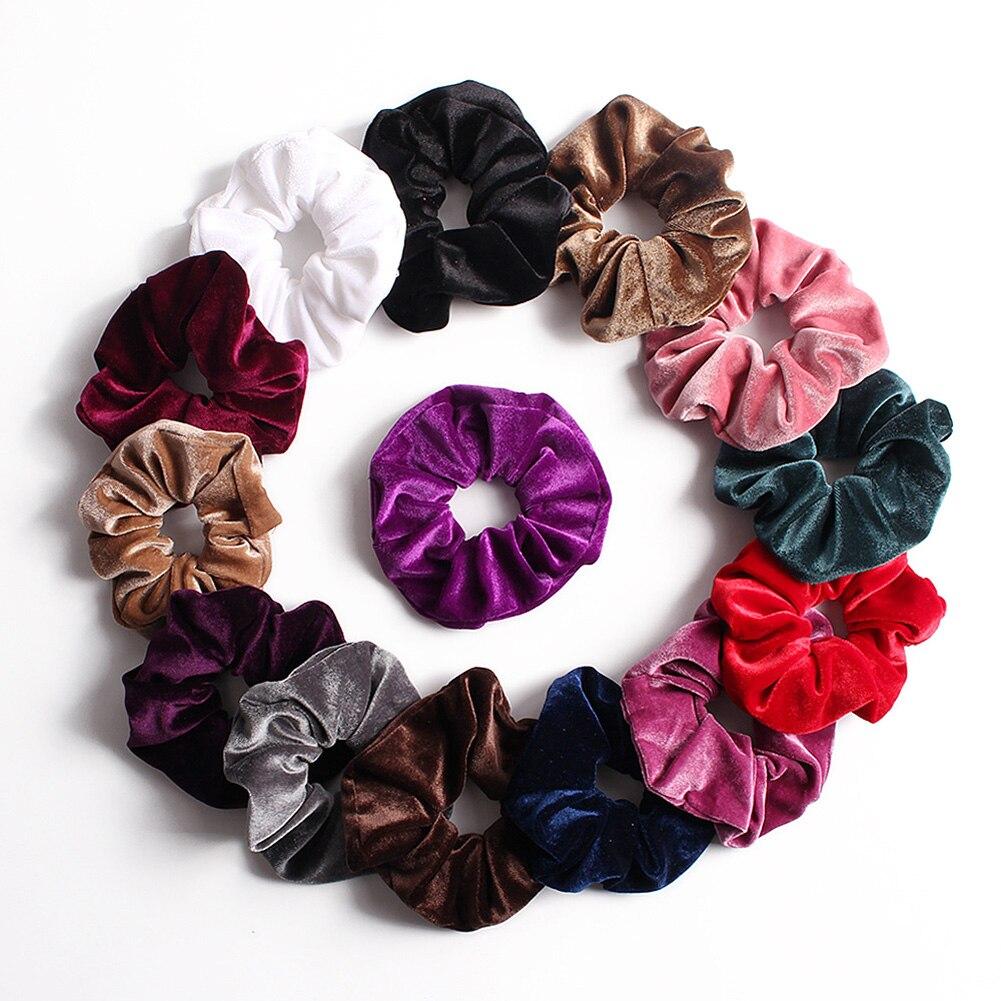 Soft Velvet Scrunchies Solid Color Hair Rope Ties Ponytail Holder  Women Width Elastic Hair Bands Vintage Headwear Hot Pink Red