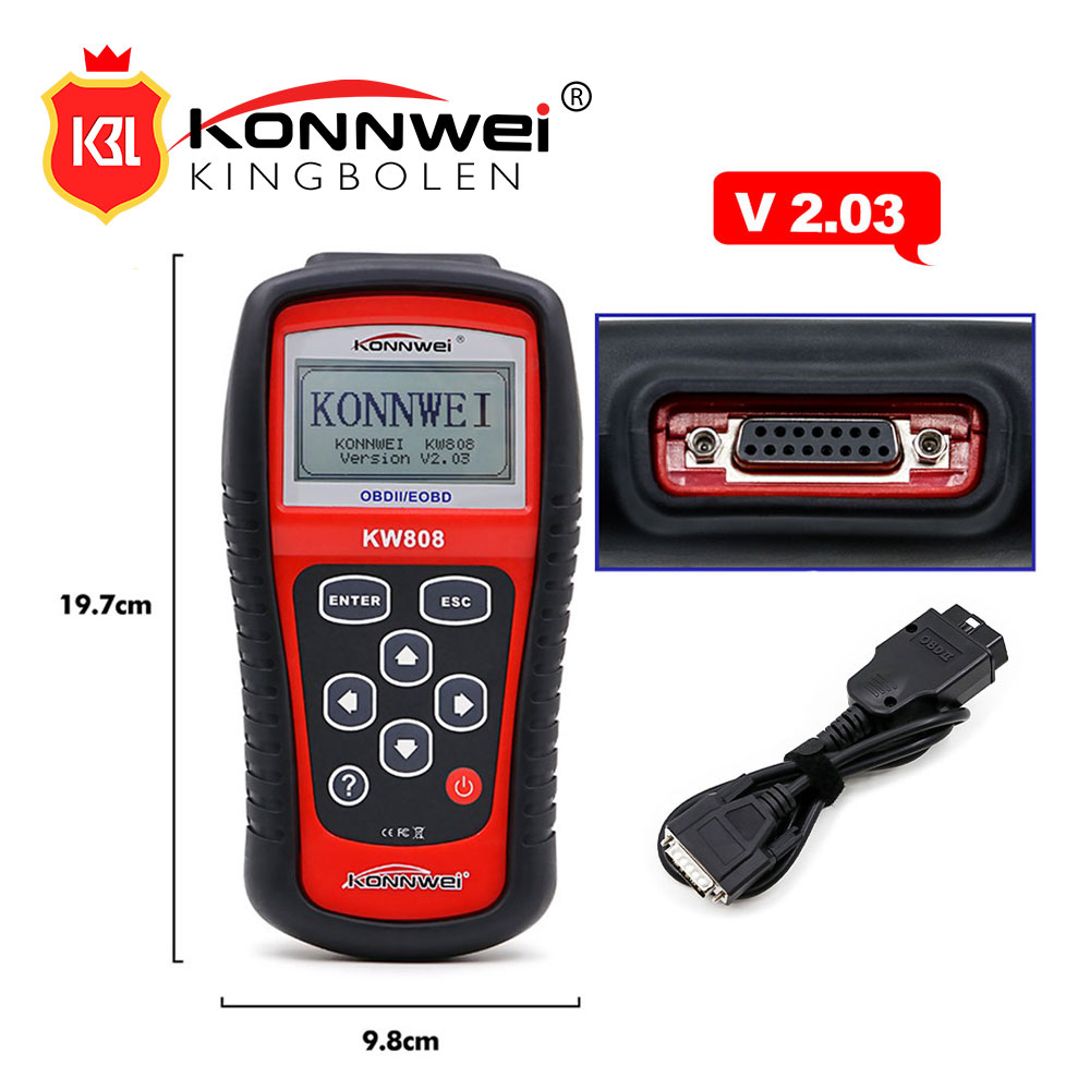 KONNWEI KW808 Car EOBD OBD2 OBDII Diagnostic Engine Fault Code Reader Scann