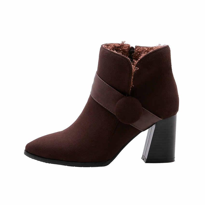 QUTAA 2020 Yeni Sonbahar Kış PU Deri Akın Rahat Kadın Ayakkabı Moda Kare Yüksek Topuk Sıcak Kürk Kış yarım çizmeler Boyutu 34-43