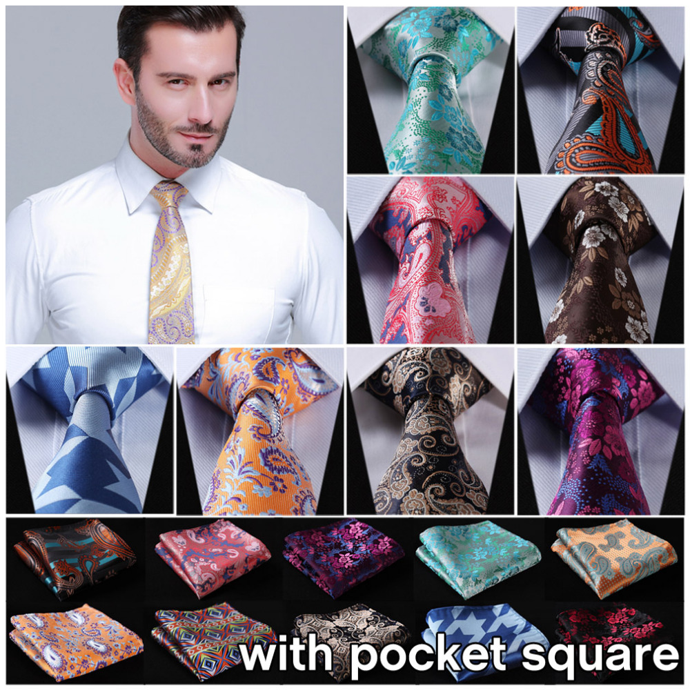 HISDERN Polka Dots Wedding Tie Handkerchief Woven Classic Mens Necktie /& Pocket Square Set
