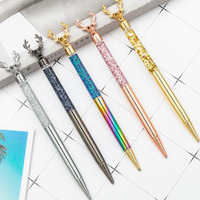 100pcs /lot Newest North Europe Reinbeer Design Crystal Pen Diamond Ballpoint Pens Stationery Metal Ball Pen As Luxury Gift