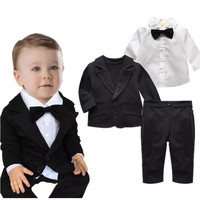 Hot Sale 3pcs Newborn Baby Boys Gentleman Bowtie Shirt Coat Pants Trousers Kids Clothing Set Toddlers