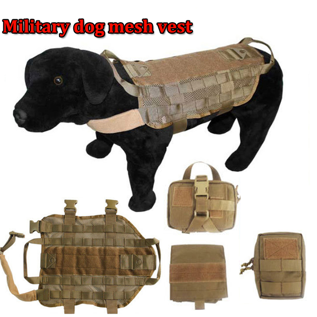 NEW Army Tactical Dog Vests Military Mesh Dog Clothes Load Bearing