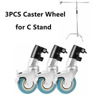 3PCS Photo Studio Heavy Duty C Stand Caster Wheel For Century C Stand & Arm Boom