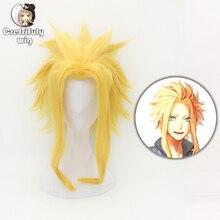 цена на Anime My Hero Academia Boku no Hiro Akademia All Might Short Golden Blonde Synthetic Hair Cosplay Costume Wig + Free Wig Cap
