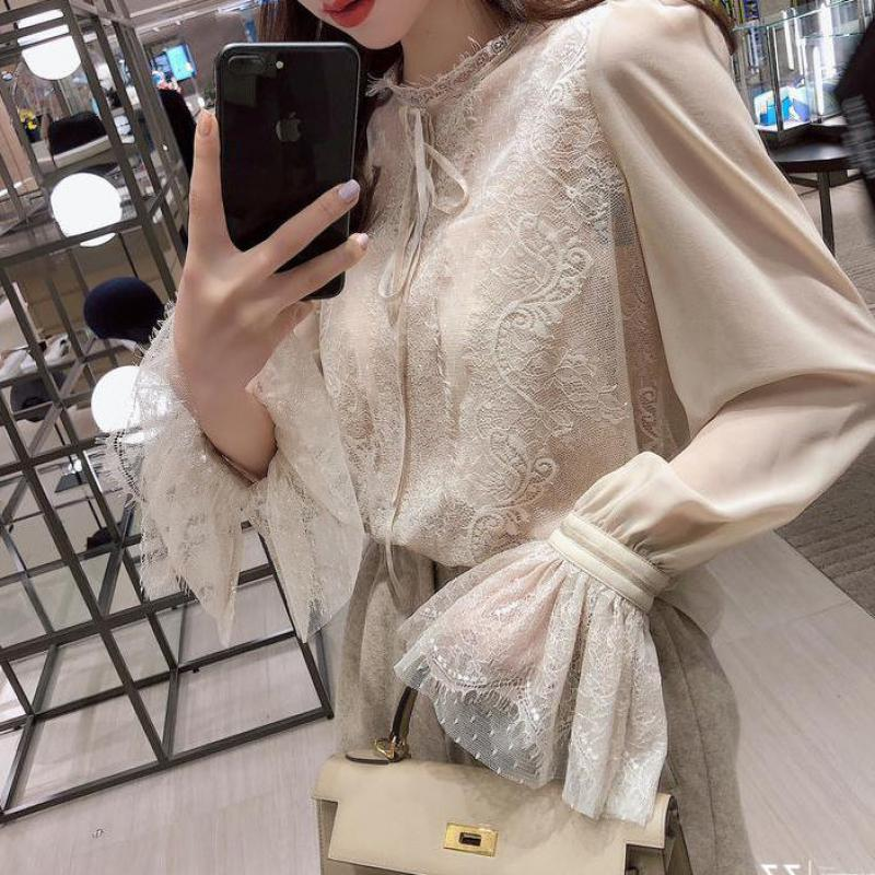 2019 Autumn  New Arrival Fairy Blusa Feminina Chiffon Shirt Bottoming Flare Sleeve Lace Blouse Sling Attached Free Shipping