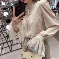 2019 automne nouveauté fée Blusa Feminina chemise en mousseline de soie fond Flare manches dentelle Blouse fronde attaché livraison gratuite