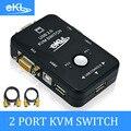 EKL KVM de 2 PUERTOS VGA Interruptor USB 2.0 Teclado Ratón Switch Box con 2 UNIDS Cable KVM