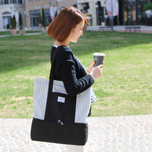 Girls Fashion Trend Durable Large Space Place Item Stripes When Thermal Insulation Bag Cold Storage Ice Bag Handbag