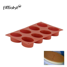 FILBAKE 8 Cavity 3D Oval Shaped Silicone Mold Baking Moulds Cake Mould For Western Dessert  Chocolate Truffles Soap Molds