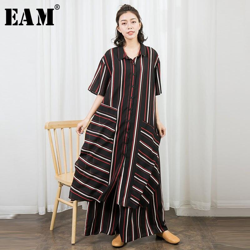 [EAM] 2018 новый летний мода прилив полосатый одной кнопки квадратный воротник платья свободные эластичные широкие брюки до щиколотки длина бр...
