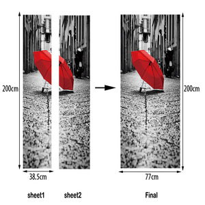 Image 4 - Đường phố Chiếc Ô Màu Đỏ Trên Mặt Đất Giả 3d Dán Cửa Phòng Khách, phòng ngủ Cửa Đổi Mới Dán Tự dính