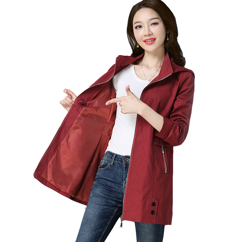 Plus Size 4XL Spring Autumn Women Short   Trench   Coat 2019 New Solid Long Sleeve Loose Hooded Cotton Windbreaker Female Outwear