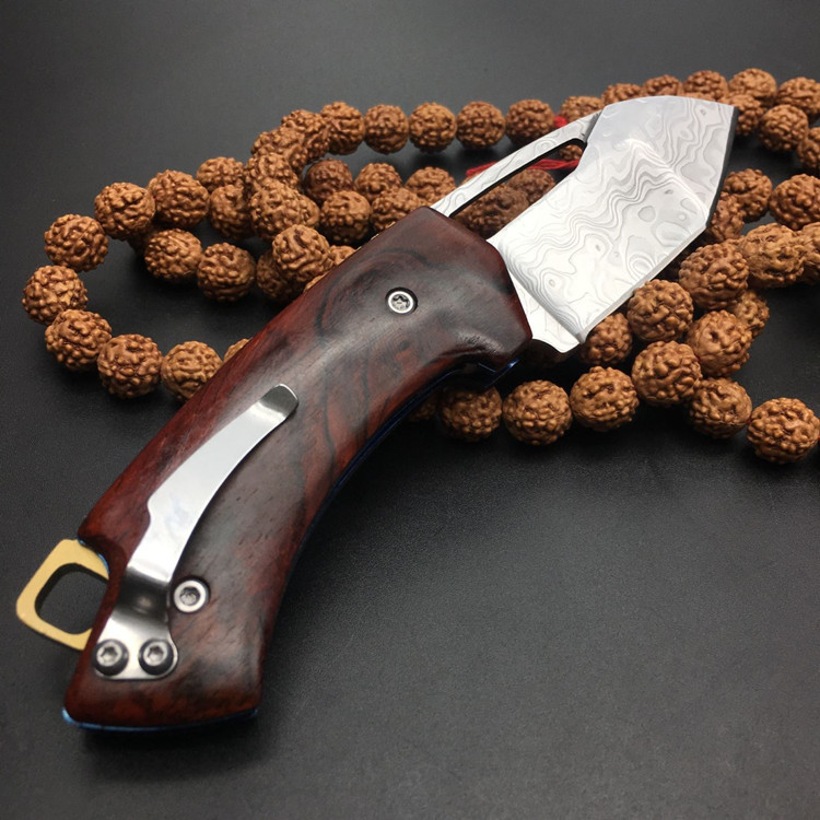 Купить с кэшбэком New style a sharp Damascus knife  folding knife The rosewood handle Exquisite gift  Outdoor survival tools