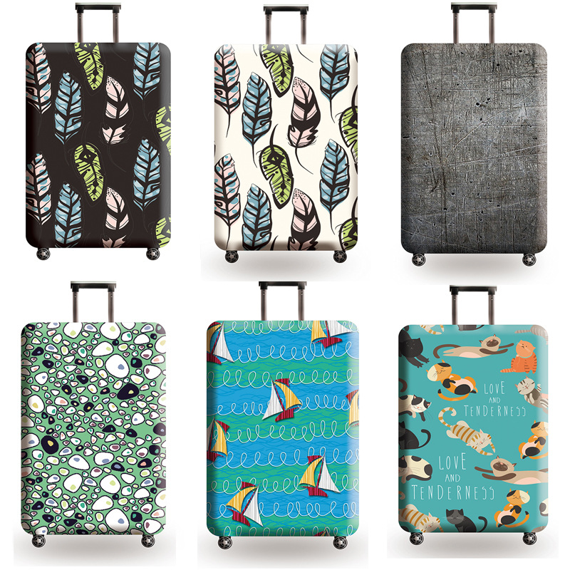 Feather Pattern Travel Accessories Luggage Cover Suitcase Protection Set Baggage Dust Cover Trunk Set Trolley Case Elasticity