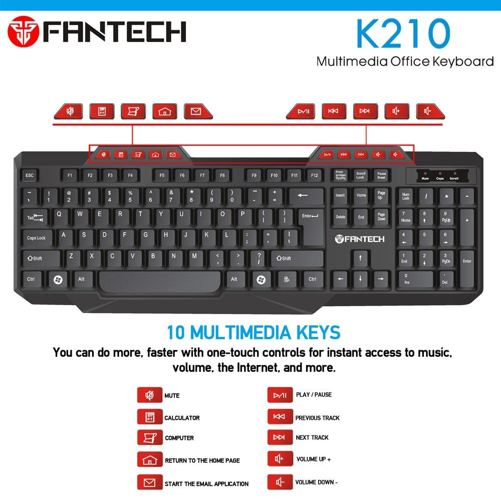 FANTECH K210 Multimedia Office Keyboad 12