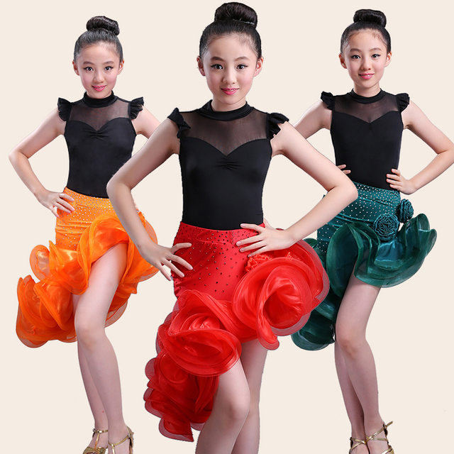 00b28f578b862d Kind kid kinderen professionele meisje latin dans jurk kids ballroom sexy  tango jurken voor meisjes tops