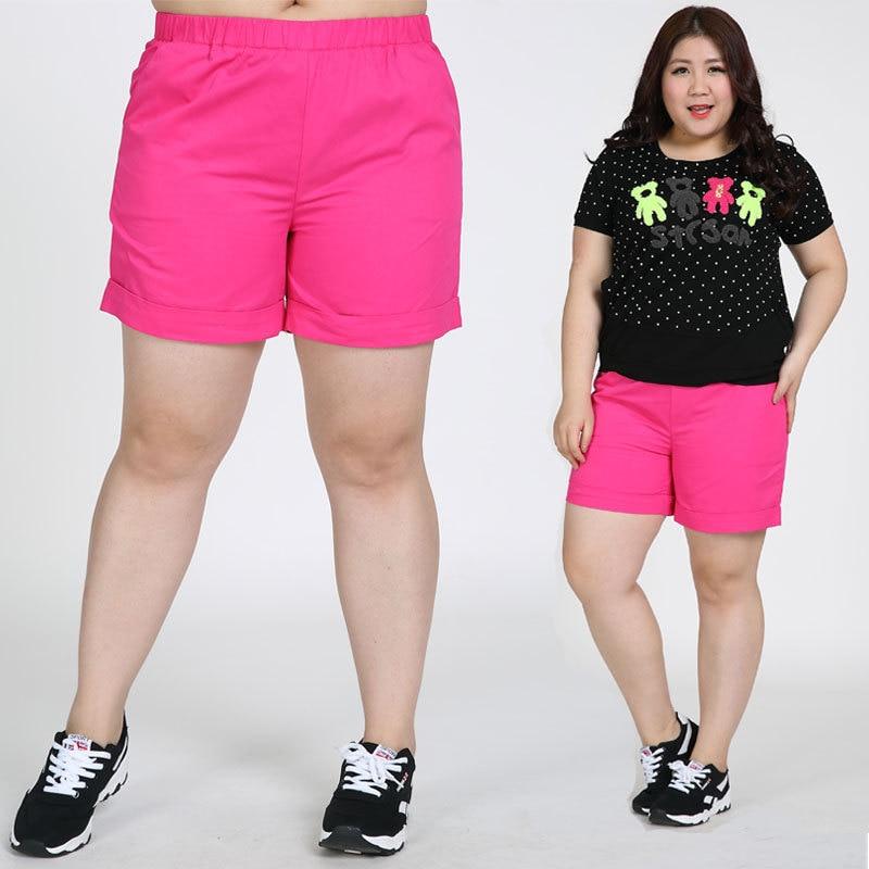 TUHAO Large Size 7XL 6XL Summer Women Casual Extra Large Shorts Mid Waist Elastic Waist Cotton Plus Size SHORT LQ01