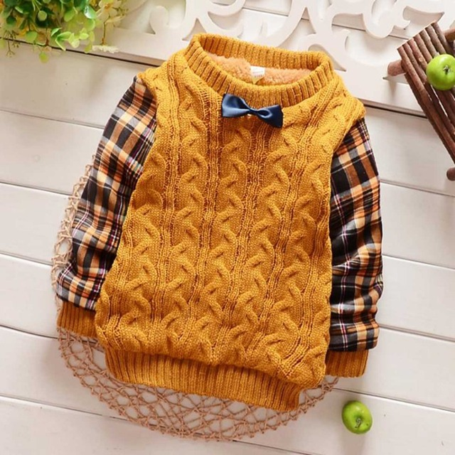 Autumn Warm Winter Knitting Baby Infant Plus Velvet Knitwear Long Sleeve Boys O Neck Sweater Thicken Outwear Pullover Tops S2313