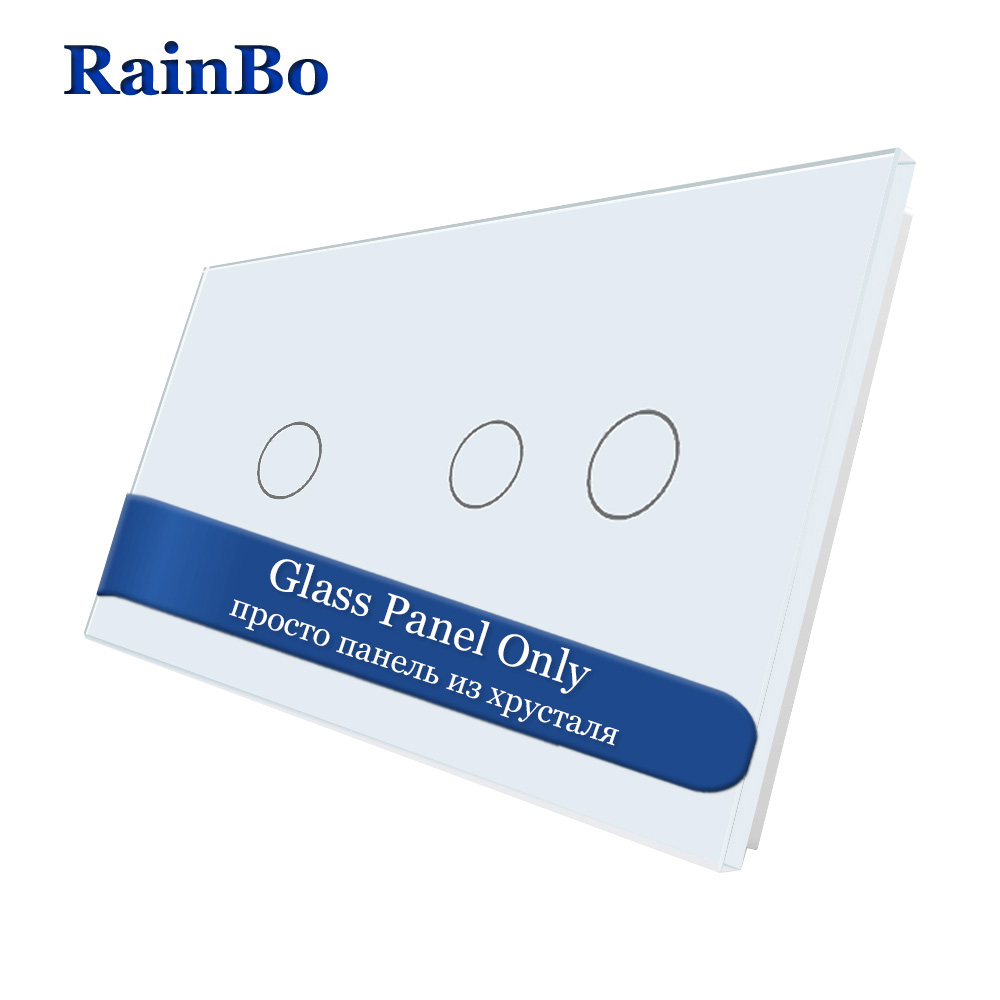 RainBo Free shipping Luxury Double Crystal Glass Panel 3gangs Wall Switch Panel 151mm*80mm EU Standard DIY Accessories A2912W/B1RainBo Free shipping Luxury Double Crystal Glass Panel 3gangs Wall Switch Panel 151mm*80mm EU Standard DIY Accessories A2912W/B1