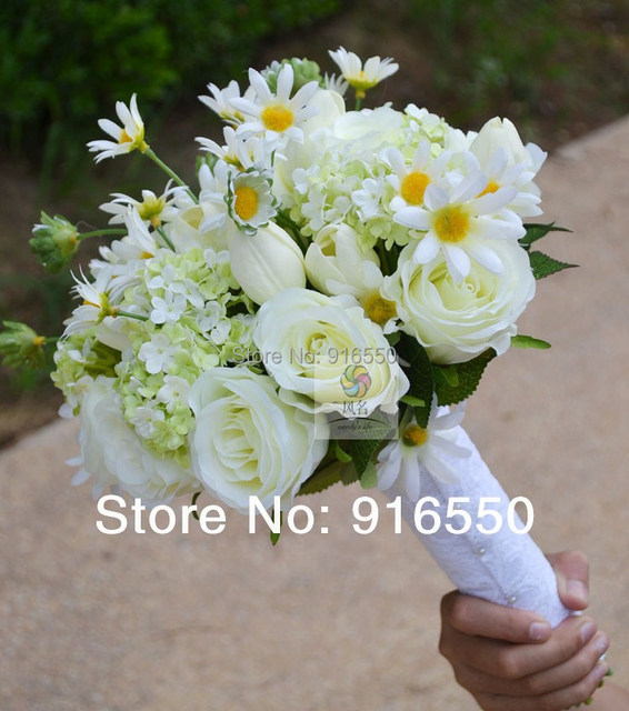 Free Shipping Silk Flower Daisy,Tulip and Rose Bouquet Wedding ...