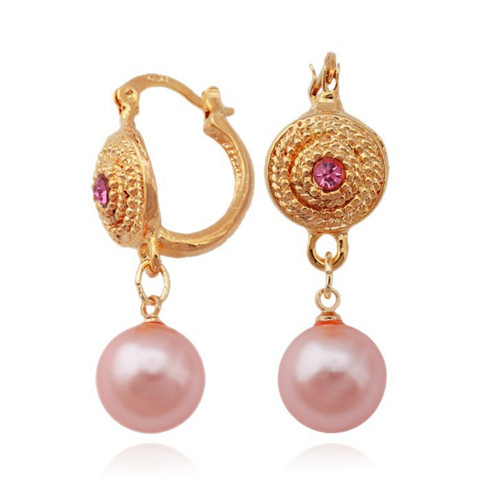 High Quality 18 Yellow Gold Plated Pink Pearl Earring New Design ...