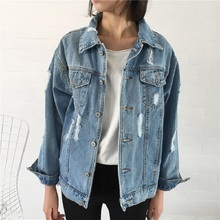 Female Basic Coat Autumn Ripped Holes Denim Jacket Bomber Loose Casual Jackets Woman