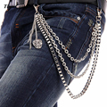 "3 Strand Silver Metal Box Chain Skull Pendant Charm Wallet Key Chain Jeans Pant Chain Hip Hop-25"" KB18"