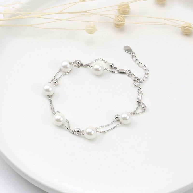 Korean Fashion Simple 925 Sterling Silver Pearl Bracelet Multi