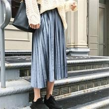 New 2019 Autumn And Winter High Waisted Skinny Female Velvet Skirt Pleated Skirts Free Shipping