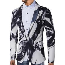Ink printing Dress Blazer Jacket Men Suit Wedding Suits for Mens Stage Tuxedos White Red