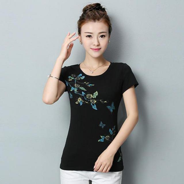 d70e11e15a0 Wholesale Plus Size Printed T-shirt Cotton 2017 Women Summer New Brand  Fashion Slim Fit