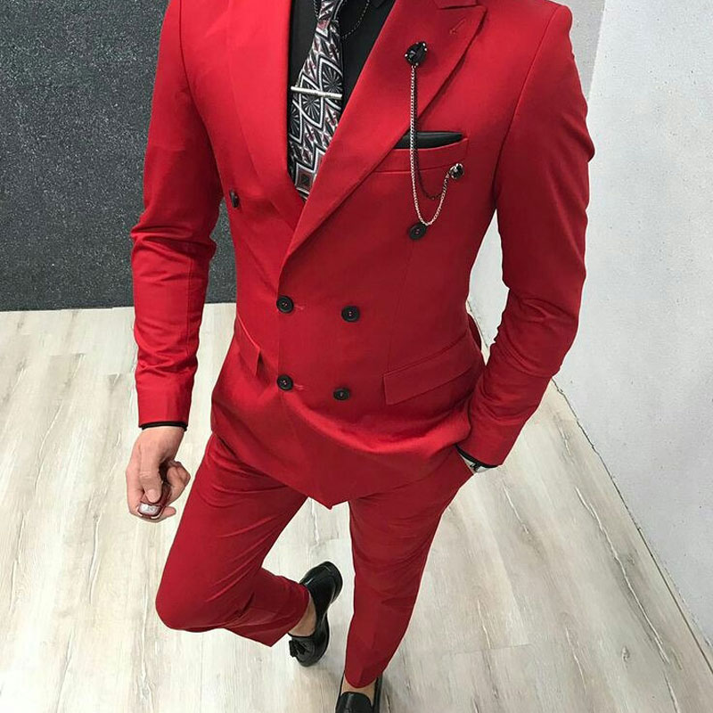 Latest Designs Red Men Suits Pants Peaked Lapel Groom Wedding Tuxedos Man Blazers Blue Costume Homme Terno Masculino 2 Piece