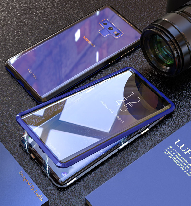 Luxury 360 Double sided front+back glass Magnetic case for samsung galaxy s9 plus note 9 Aluminum metal magnet case cover coque  (12)