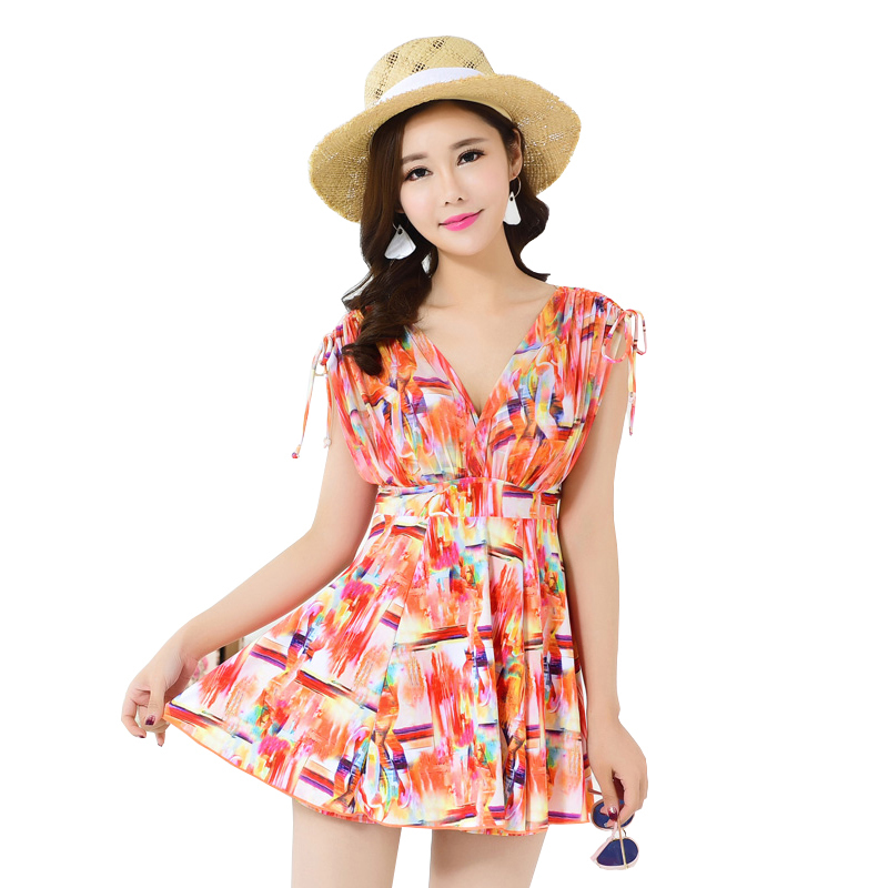 Push Up Swimming Suit For Women Plus Size Swimwear Ladies Modest Swimsuit V Neck With Underwire Skirted Bathing Suit Beach Dress