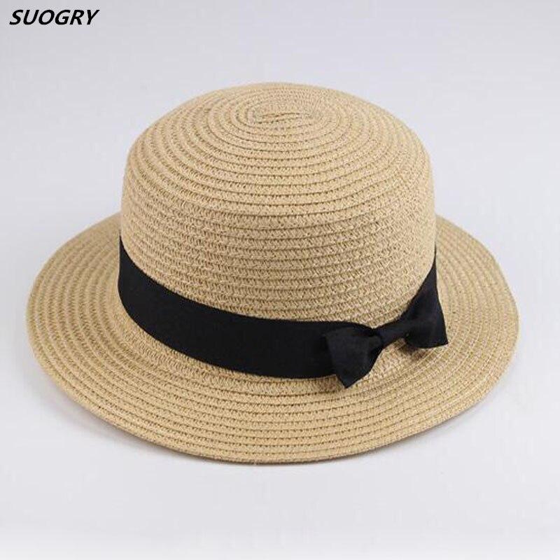 189bf970e9d71  SUOGRY  atacado sun chapéu de palha velejador chapéu arco das Mulheres  Chapéus de verão Para As Mulheres Praia plana chapéu de palha panamá chapéu  chapeau ...