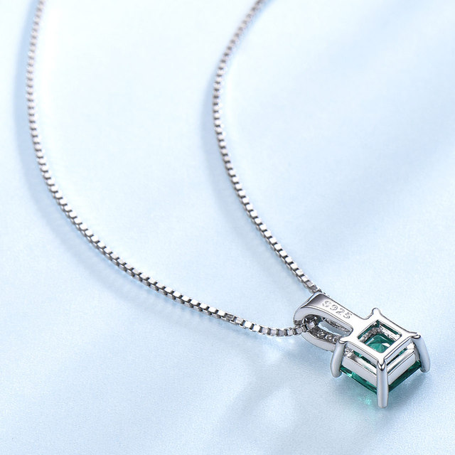 UMCHO Pure 925 Sterling Silver Pendants For Women Green Princess-cut Emerald Charm Wedding Pendant Fine Jewelry Without Chain 3