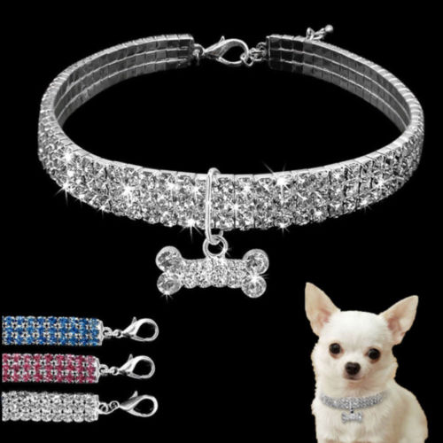 1Pcs Rhinestone Dog Collar and Leash Soft Bow for Doggie Puppy Cat Small Pet Harness Collars