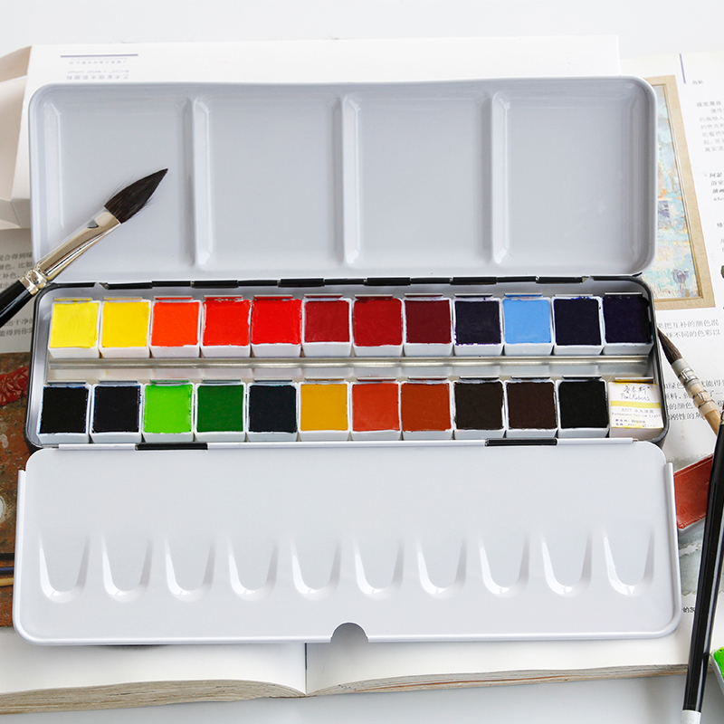 Freeshipping Rubens solid watercolor paints mental box water color kit pigment watercolour set 24/12 colors artist level fine freeshipping rubens solid watercolor paints mental box water color kit pigment watercolour set 24 12 colors artist level fine