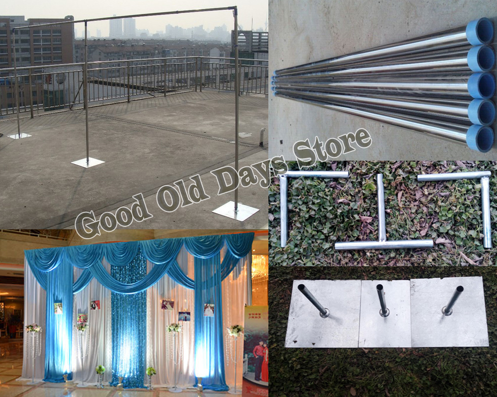 Extra Thicker Durable Adjustable pipe Stainless Steel Wedding Backdrop Stand Backdrop 3*6M wedding stage Background frame
