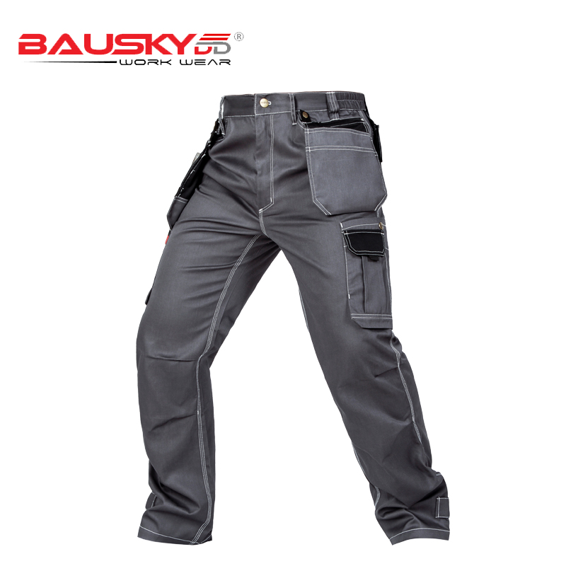 66b0160885ef Summer light weight Mens multi pockets work trousers grey work pant black  work wear mechanic pant cargo work pant free shipping-in Safety Clothing  from ...