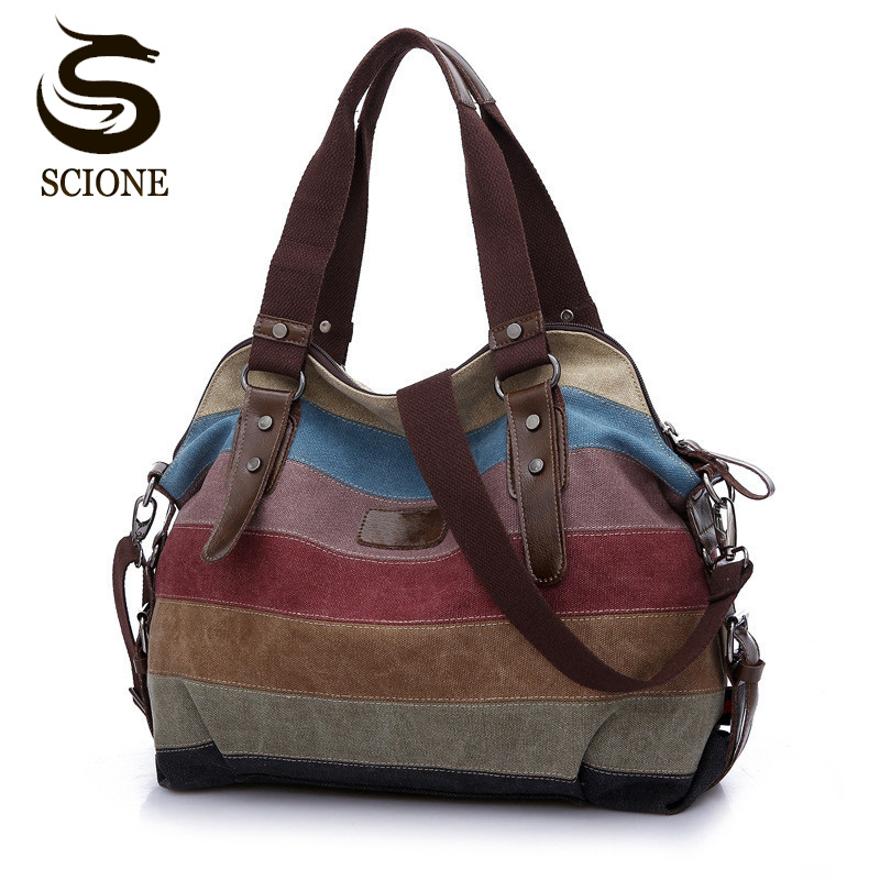 2017 Vintage Canvas Women Hand Bags Striped Rainbow Color Patchwork Bag Shopping Handbag Tote Beach Totes for Women Shoulder Bag aosbos fashion portable insulated canvas lunch bag thermal food picnic lunch bags for women kids men cooler lunch box bag tote