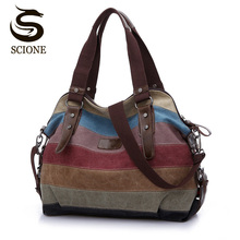 Vintage Canvas Women Hand Bags Striped Rainbow Color Patchwork Bag Shopping Handbag Tote Beach Totes for