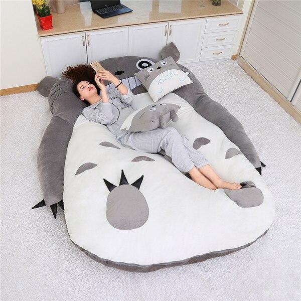 1.9x1.3 M/2.0x1.4 M Mijn Neighbor Totoro Tatami Slapen Dubbele Bed Zitzak Sofa Warm Cartoon Totoro Tatami Slaapzak Matras