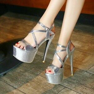 Image 2 - LANYUXUANขนาดใหญ่31 48รองเท้าแตะแพลตฟอร์มสุภาพสตรีแฟชั่นพรรครองเท้าเซ็กซี่เปิดนิ้วเท้าซุปเปอร์ส้นสูง(16เซนติเมตร)รองเท้าผู้หญิงปั๊ม202