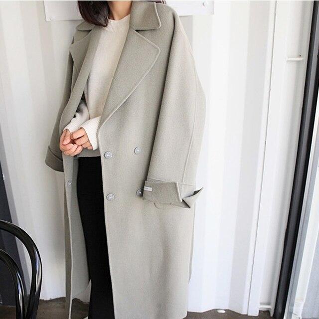 H. SA Женщин Зимние Куртки и Пальто Элегантный Теплый Женщин Шерстяное Пальто 2017 Сгущает Длинные Плюс Размер Женщин Корейской шерстяные Пальто