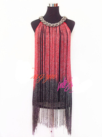 custom customize tassel Latin dance samba salsa rumba women's performance wear competition dance dress