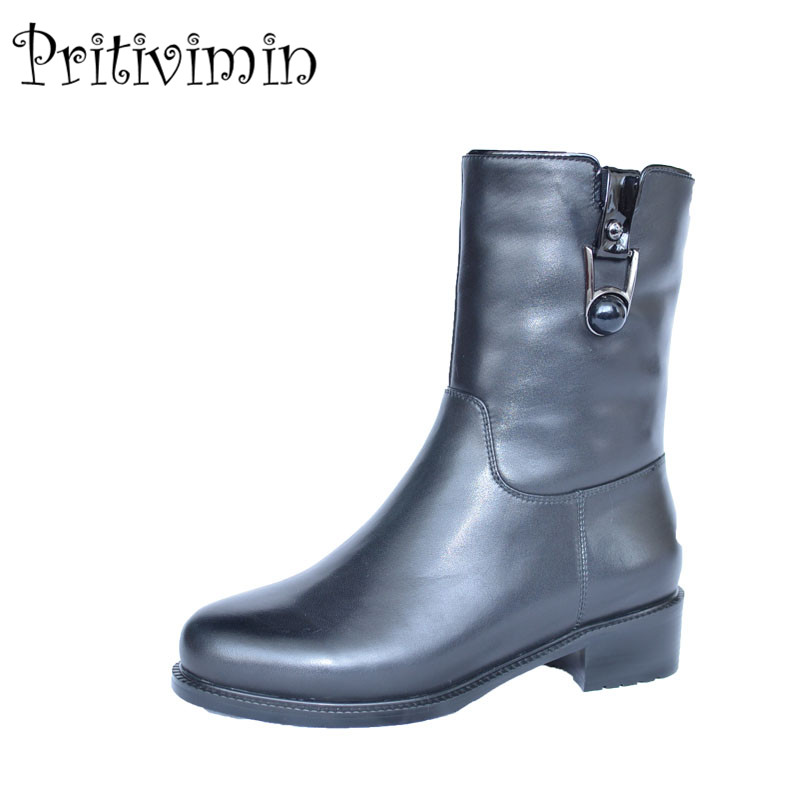 2018 Fashion women warm winter shoes girls heel fur lining short boots Ladies cow patent ...